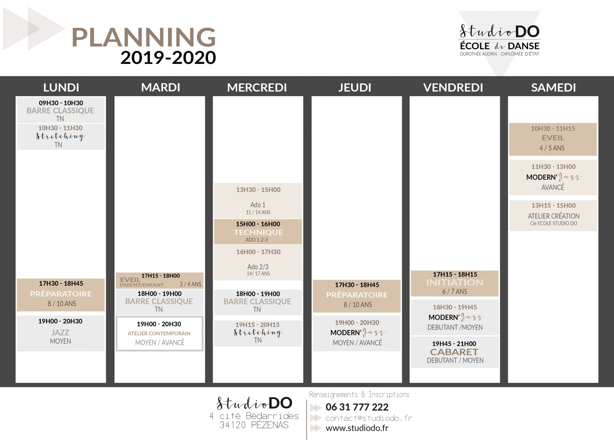 STUDIO DO - PLANNING HEBDOMADAIRE 2019-2020 oct
